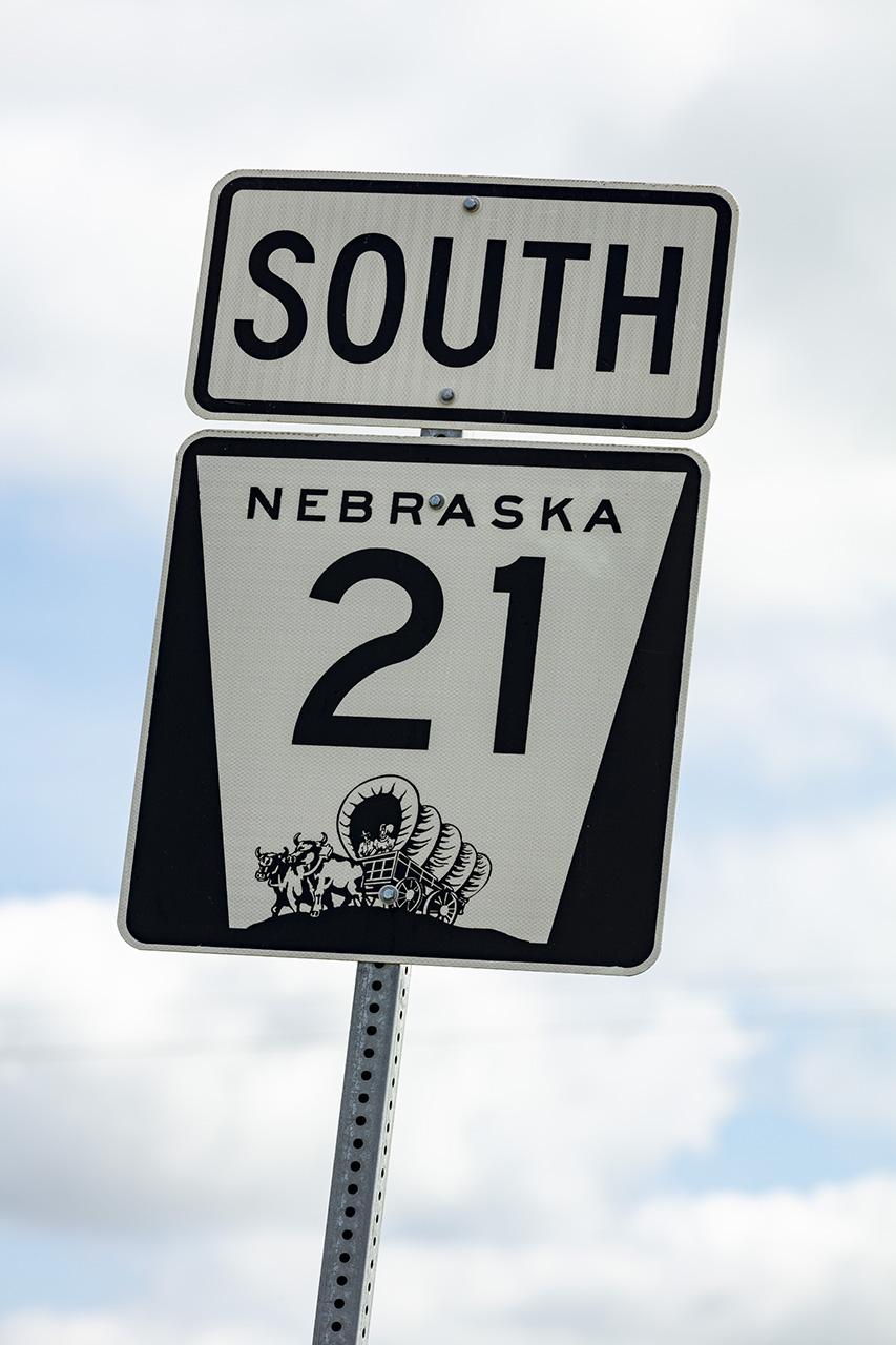 Nebraska Highway 21 South, Strassenschild, Nebraska, USA