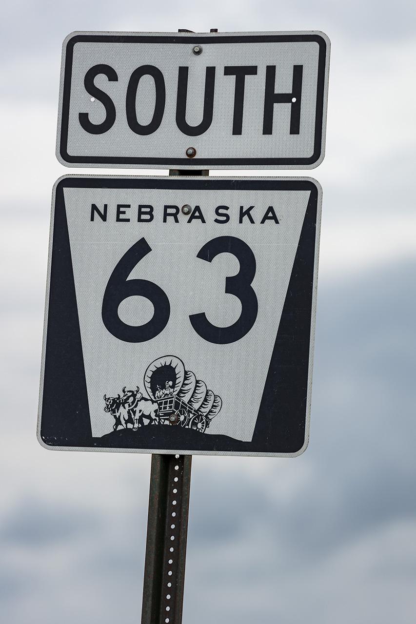 Strassenschild, Nebraska Highway 63 South, Neraska, USA