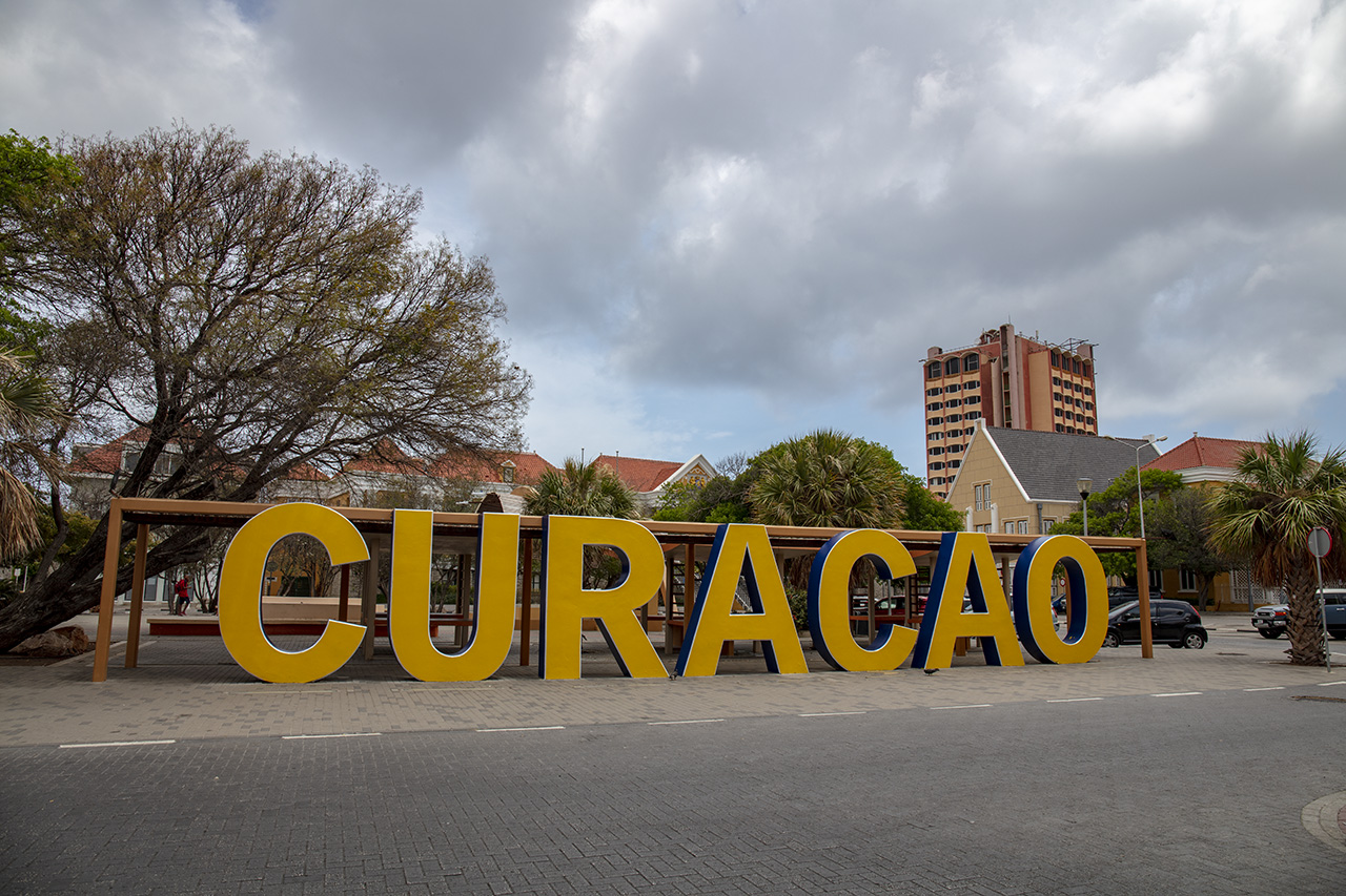 Curacao sign in Willemstad, Curacao, Caribbean