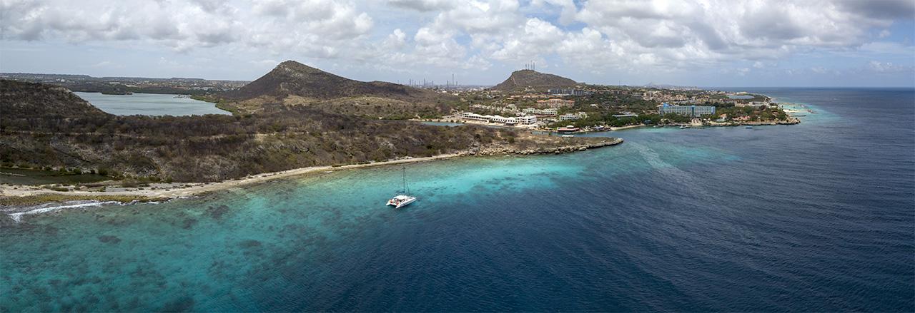 Hilton Beach drone view from off the coast, Curacao, Caribbean